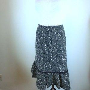 Nanette Lepore black tweed midi skirt L
